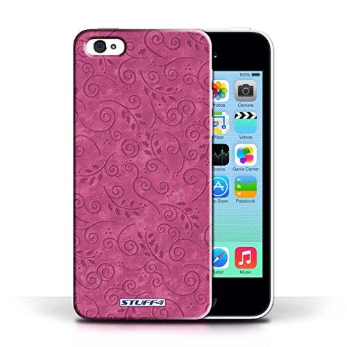 KOBALT® Hülle Case für Apple iPhone 5C | Gelb Entwurf | Blatt-Strudel-Muster Kollektion Rosa