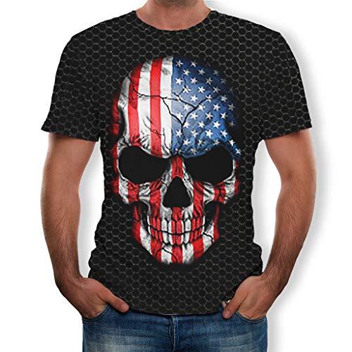 Clearance Saingace Herren 3D Druck T-Shirt,Männer Frühling Sommer Beiläufige Flagge Skelett Kurzarm T-Shirt O-Neck Top (Erwachsenen Skelett Shirt)