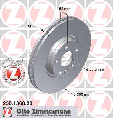 Zimmermann 250.1360.20 Bremsscheiben, COAT Z, 2 Stück