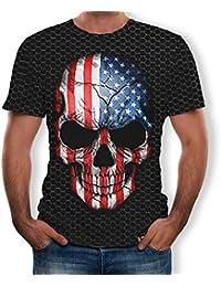 Hombre Camisetas 3D Cabeza del cráneo Bandera Nacional Imprimió Divertido de Manga Corta de Colores Personalizada