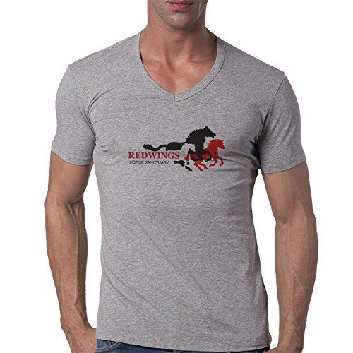 Redwings Horse Sanctuary Logo Herren V-Neck T-Shirt Grau