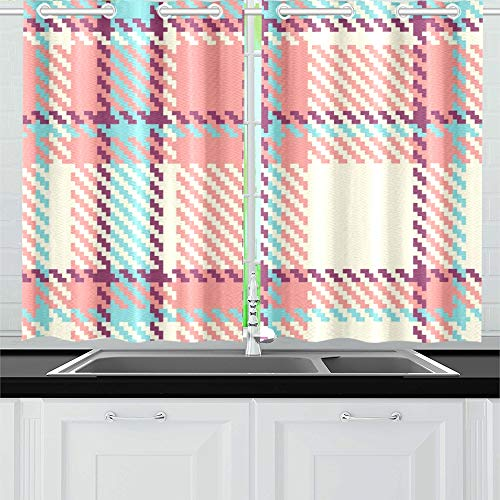 QIAOLII Plaid Stoff Küche Vorhänge Fenster Vorhang Ebenen für Café, Bad, Wäscheservice, Wohnzimmer Schlafzimmer 26 x 39 Zoll 2 Stück - Vorhänge Plaid Küche