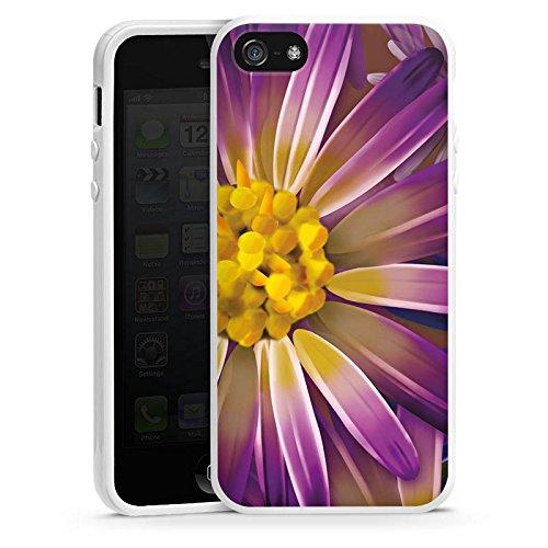 Apple iPhone 4 Housse Étui Silicone Coque Protection Lilas Fleur Fleur Housse en silicone blanc