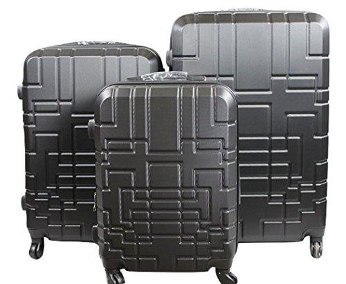 Orlacs modello dublin 5 -set valige trolley da 3 pezzi,dopiia zip ampiezza , materiale abs e policarbonato con 4 ruote girevoli 360° gradi colori vari (nero fumè)