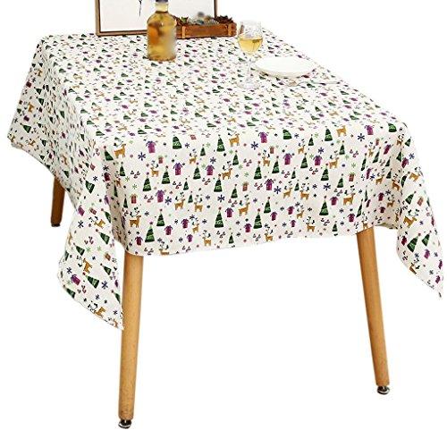 kakiyi Weihnachten Hut Cartoon-Baumwollleinengewebe Tischdecke Rechteck Tischdecke Abdeckung für Esstisch