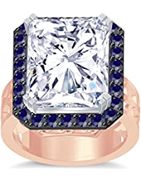 Silvernshine 18K Rediant Cut Blue Sapphire Simuleted Diamonds RoseGold PL Hand Craft Wedding Ring