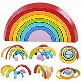 king do way 7 Colori Legno Arcobaleno Blocchi, Giocattoli Educativi in Legno per Bambini, Blocchi in Legno Colorato Impilabile Arcobaleno Forma