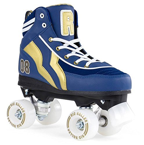 Rio Roller Varsity Quads Rollschuhe Disco Roller blau-gold blue-gold, 39.5