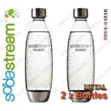 SodaStream Metal Bottles A New Design by Yves Behar (Yves B?ar) - 100% ORIGINAL SodaStream Carbonating Metal Bottles (2 x Metal Bottles - 1 Liter / 34.0 oz. Each Bottle) Source / Genesis Deluxe by SodaStream