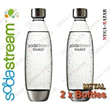 SodaStream Metal Bottles A New Design by Yves Behar (Yves B?ar) - 100% ORIGINAL SodaStream Carbonating Metal Bottles (2 x Metal Bottles - 1 Liter / 34.0 oz. Each Bottle) Source / Genesis Deluxe by SodaStream