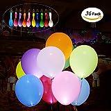 AIMONLIE LED Leuchtende Luftballons, Bunt Schöne LED Ballon, 36Pcs led Luftballons Licht Blinkendes Licht für die Party, Weihnachten, Geburtstag, Hochzeit, Festival inklusive Batterien