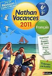 Nathan vacances - Français de la 6e vers la 5e