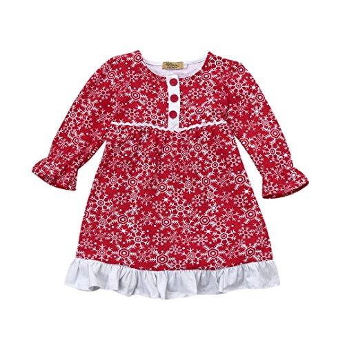 URSING Kleinkind Kinder Baby Mädchen Santa Snow Weihnachts-Outfits -
