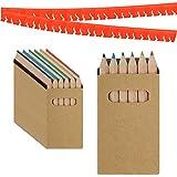 Partituki Gadget Compleanno Bambini Set di 25 Scatole di Matite Colorate con 6 Colori e Una Ghirlanda Rossa di 20 Metri. Ideale per Regalini Fine Festa Bambini e Pignatta