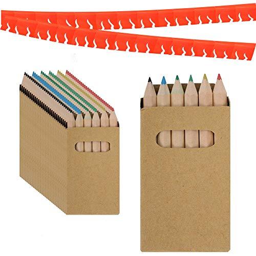 Partituki gadget compleanno bambini set di 30 scatole di matite colorate con 6 colori e una ghirlanda (colore casuale) di 20 metri. ideale per regalini fine festa bambini e pignatta