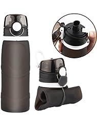 CERCHIO 750ML Gourde Pliable en Silicone sans BPA Bouteille d'eau Pliable Souple et Portable pour Sport,les activités Extérieures,Voyage,Camping, Randonnée,Yoga Gris