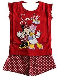 Original Minnie Mouse de marque Disney enfants personnage de filles de 18 mois à 6 ans pyjama rouge chemise et Shorts