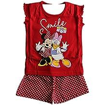 Carácter de las niñas de Disney Minnie Mouse de marca original de los niños de 18 meses a 6 años Camisa y pantalones cortos de pijamas rojos