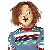 Smiffys Déguisement Homme, Masque latex Chucky, Couvre toute la tête, Couleur: Brun, 39969