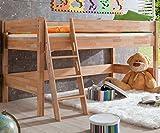 Relita BH1131114 Halbhohes Spielbett KIM, Maße 210 x 113 x 110 cm, Liegefläche 90 x 200 cm, Buche massiv natur lackiert