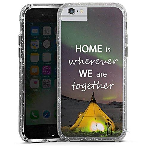 Apple iPhone X Bumper Hülle Bumper Case Glitzer Hülle Heimat Zelten Natur Bumper Case Glitzer silber