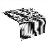 OurWarm 35cm x 182cm schwarz und weiß gestreift Baumwolle Tischläufer Hochzeit Party Event Dekorationen