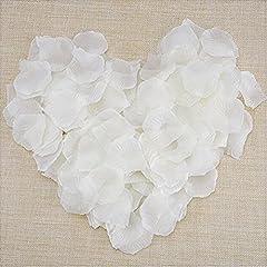 Idea Regalo - JZK® 1000 x Seta petali di rosa finti bianchi coriandoli biodegradabili stoffa decorazione tavolo per matrimonio addio al nubilato San Valentino nozze