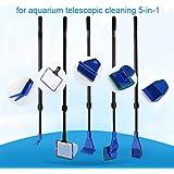 Kit de limpieza para tanque de pescado Funcional cinco herramientas de limpieza para acuario Limpieza telescópica 5 en 1