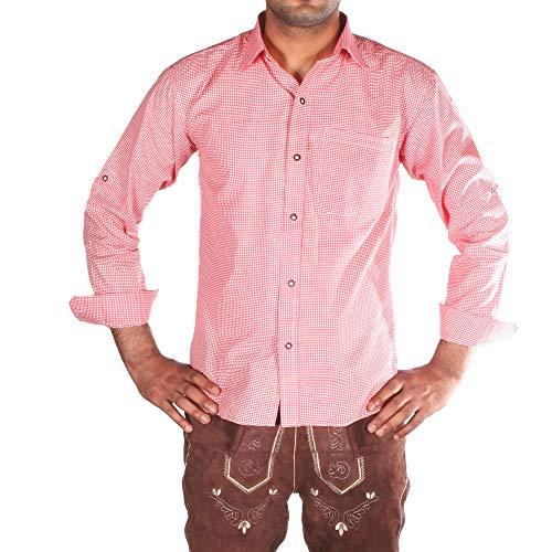 Gesteiner Leather Herren Trachtenhemd Trachtenhemden für männer karriert Trachten Hemd Langarm Regular fit Baumwolle mit krempelärmeln verschiedenen karo Farben (M, Rot)