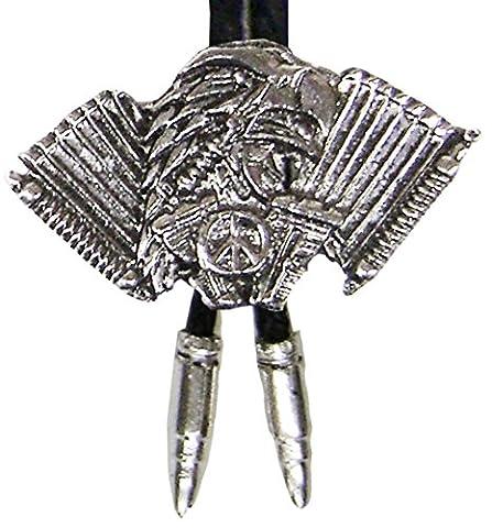 Modestone Bolo Eagle Motorcycle Engine Peace Sign & Silver Bullets O/S Silver
