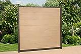 DeToWood WPC Zaun Royal ca. B 195 x H186 cm, Sichtschutzzaun, mit 2 Pfosten und Zubehör Farbe: Creme/Grau