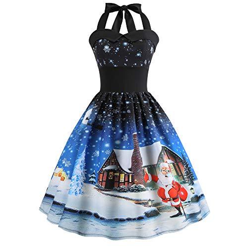 YWLINK Damen Neckholder Rockabilly Jahrgang Weihnachten Gedruckt Halfter ÄRmellos Abendgesellschaft Prom Swing Kleid(L,Blue c)