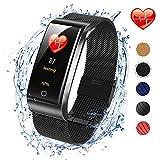 ISWIM Fitness Tracker, Orologio Fitness Activity Tracker Cardio Impermeabile IP67 Smart Watch Cardiofrequenzimetro da Polso Contapassi Pedometro Smartwatch per Android e iOS (Metallo Nero)