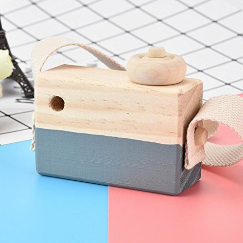 Wooden Toy Camera,Mamum Wooden Toy Camera Kids Creative Neck Hanging Rope Toy Photography Prop Gift (Gray)