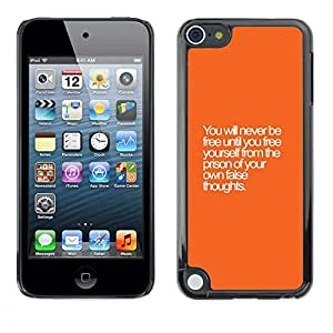 Plastic Shell Protective Case Cover || Apple iPod Touch 5 || Thoughts Wise Text Orange @XPTECH