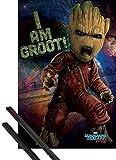 1art1 Guardianes De La Galaxia Póster (91x61 cm) Vol. 2, Angry Groot Y 1 Lote De 2 Varillas Negras