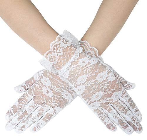 Coucoland Damen Lace Handschuhe Spitze Braut Hochzeit Handschuhe Opera Fest Party Handschuhe Damen Fasching Kostüm Accessoires (Randverzierung Weiß/22cm) (Weiße Kostüm Handschuhe)