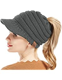 1c034c3f09464 Femme Bonnet Queue Messy Chignon Chapeaux Casquette de Baseball tricotée  Queue de Cheval Chapeaux Casquette Bonnet en Tricot…
