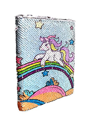 Vini Unicorn Printed Sequence Double Shade Handmade Handicraft Diary Notebook (Pages 100, Size: 21x15x2.5 cm)