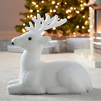 WeRChristmas Fibre Poly Cotton Silhouette Christmas Decoration, 70 cm - White