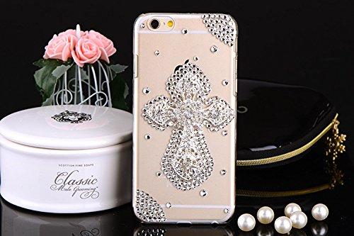 Coque iPhone 6 Plus/6s Plus , iNenk® Nouveau luxe coquille PC Téléphone Croix Paillettes Diamant Téléphone Mobile manchon protecteur Housse Etui Cute Fashion Design pour femmes-Transparent Transparent