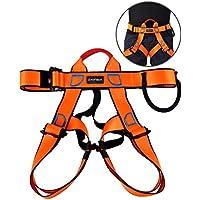 Arnés Escalada, Cinturón de Seguridad Medio Cuerpo Para Escalar, Montañismo, Rescate de Fuego, Cavación, Unisex de 1 Pack Negro