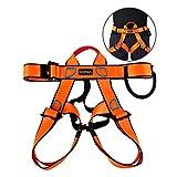 UCEC Klettergurt, Hälfte Body Sicherheitsgurt für Klettern, Bergwandern, Fire Rescue, Höhere Ebene Höhlenerkundung, bergführern–Unisex, 1Pack, Orange