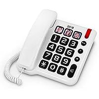 SPC Comfort Numbers - Teléfono fijo (Teclas grandes, manos libres, memorias directas con fotos), blanco