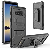 Ziaon(TM) Heavy Duty Case Rugged Impact Armor Hybrid Kickstand Cover With Belt Clip Holster Case For Samsung Galaxy Note 8 - Black