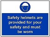 """vsafety 41013bf-s """"Caschi di sicurezza sono fornite per la sicurezza e deve essere indossato"""" obbligatoria PPE Sign, Autoadesivo, paesaggio, 400mm x 300mm, colore: blu"""