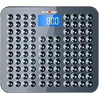 Accuweight AW-BS002 Pèse-Personne Numérique Antidérapant de Corps, Balance de Salle de bains, Écran LCD Rétroéclairé, 180kg Maximum, Gris/Blanc
