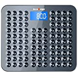 Accuweight High Accuracy Skidproof Digital Body Weight Bathroom Scale, Electronic Scale with Step-On Technology, 28st/400lb/180kg Capacity, Blue Backlight LCD Display, Grey-black