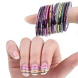 Gespout 30pcs Nail Art Sticker Nail Art Tips Ruban de Masquage Tape Bandes Différentes Couleurs Outils à ongles Décoration des Ongles