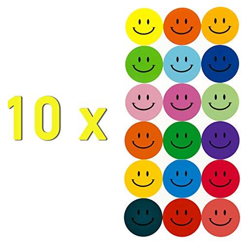 180 Bunte Smiley Face Stickers ø 2cm - Lächlen - Freude - Belohnung -